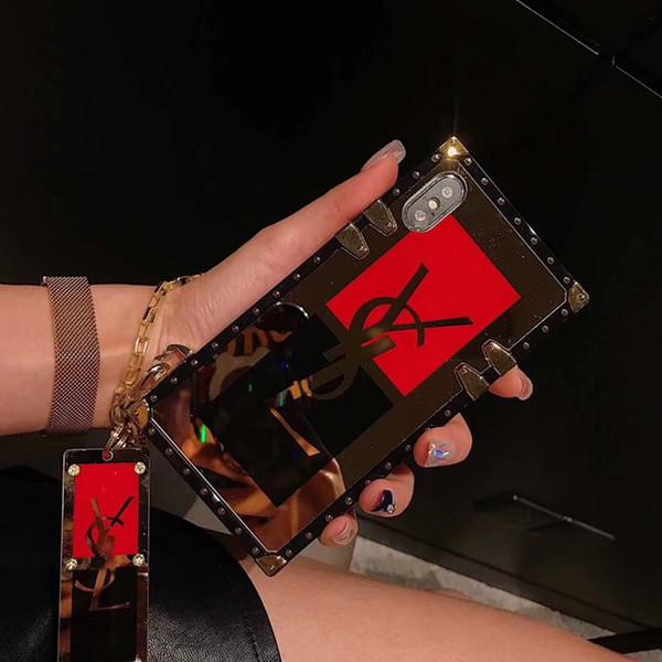 Quadrado Chapeado Espelho Tampa Traseira Moda Carta Impresso Pulseira Pulseira de Telefone Shell Shell Cabeça Do Tigre Coelho para o iphone XS Max XR 6 s 7