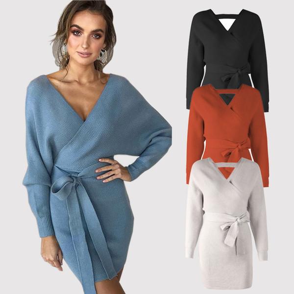 Women's Long Sleeve Sweater Dress Sexy V-Neck Bodyon Mini Wrap Dress Ladies Backless Knit Cocktail Dresses DYH1204