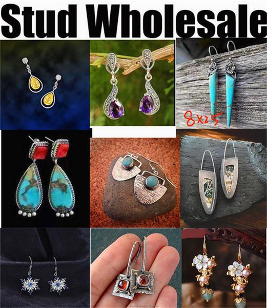 fashion new European American style designer wholesale manufacturer earrings silver jewelry women men cheap green cycle
