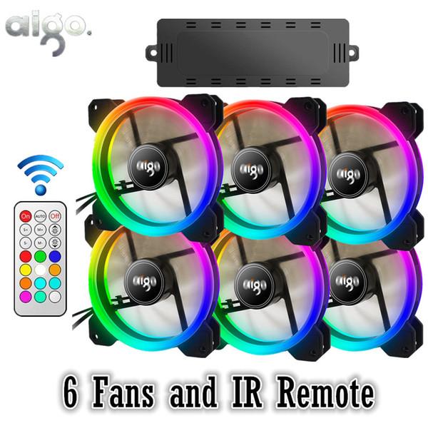 AIGO DR12 RGB 6pcs Boîtier PC Ventilateur De Refroidissement RVB Ajuster LED 120mm Silencieux + IR À Distance Nouvel ordinateur Refroidisseur Boîtier de Ventilation
