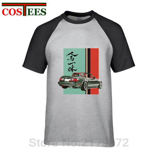 2019 Japan style Mazda Miata Mx5 T-shirt Jinba Ittai V2 Mount Fuji Pattern T shirt homme graphic printed Tshirt hombre camisetas
