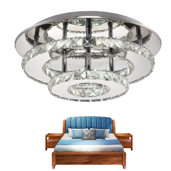 Modern LED Ceiling Lamp Round Crystal Ceiling Light For Bedroom AC110-240V Balcony Locker Room Foyer lamparas de techo