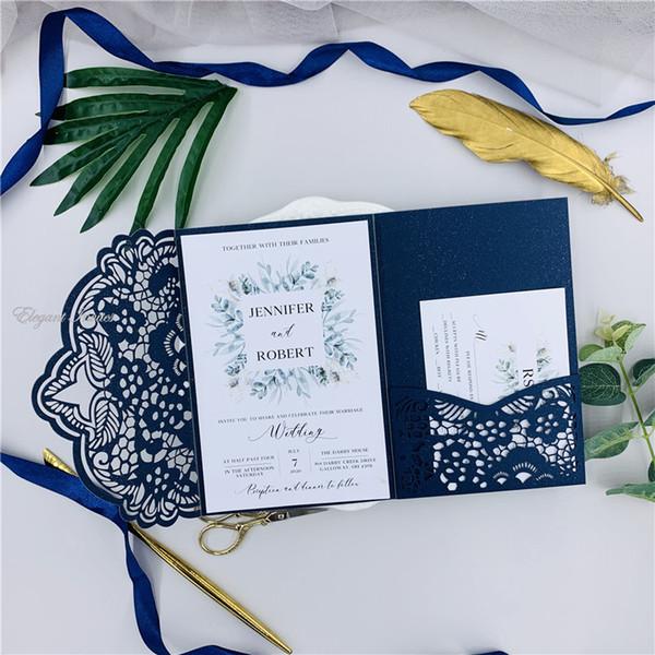 Koyu Lacivert Dantel Düğün Davetiyeleri Kartları Lazer Kesim Üç Katlı Iş Avrupa tarzı davetiye Kartları Parti Dekorasyon ücretsiz kargo