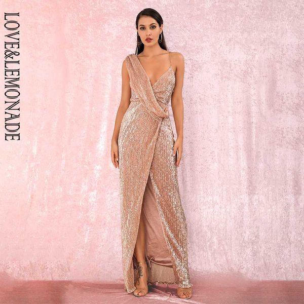 LOVELEMONADE Seksi Rose Gold Derin V-Yaka Hamsin Bölünmüş Pullarda Parti Maxi Elbise LM81849 Sonbahar / Kış