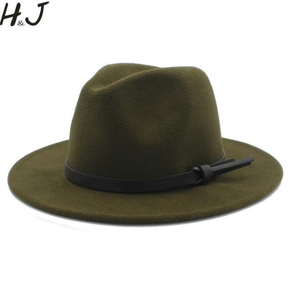 Donna Uomo Lana Vintage Gangster Trilby Feltro Cappello Fedora Con ampio bordo Gentleman Elegante Lady Inverno Autunno Jazz Caps K20 Y19070503
