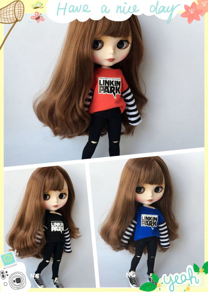 2pcs/set Sport T-shirt + jean blyth doll Clothing Causal Clothes pullip Blyth Pants for 1/6 bjd Doll Accessories for Barbie