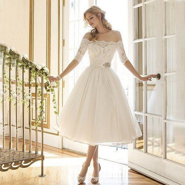 New Style Elegant Luxury Lace Half Sleeve Lace Tulle Short Beach Knee Length Wedding Dress Bridal Gown