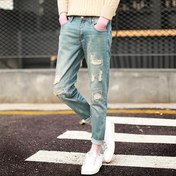 Mode 2017 Printemps Été Harem Vintage patch Hip Hop Trou déchiré Trou Effet Moustache À La Cheville Longueur hommes crayon jeans