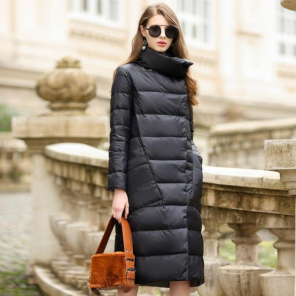 verybeautygirl / Duck Down Jacket Women Winter-Oberbekleidung Mäntel weibliche lange beiläufige Licht ultradünne warme Daunenjacke puffer Parka