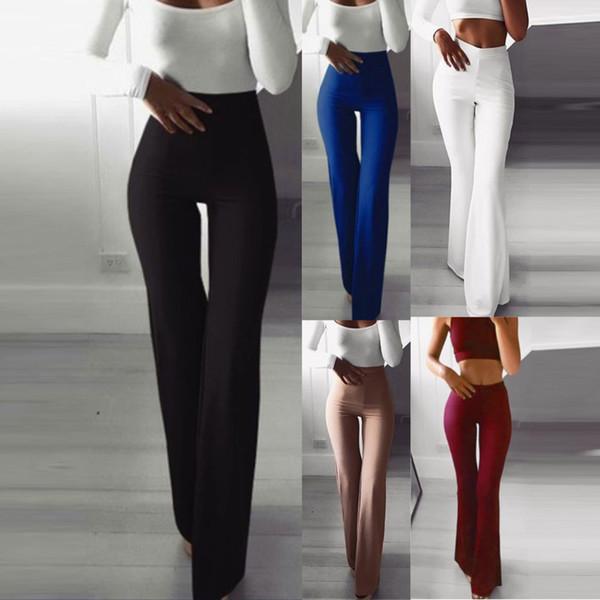 ladies high waist long pants ladies career solid bell-bottoms slim flare wide leg trousers female harem pants 2020