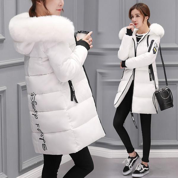 En venta de verano 2019 invierno mujer cuello de piel largo con capucha abajo Parkas chaqueta más tamaño largo con capucha abajo grueso Parkas