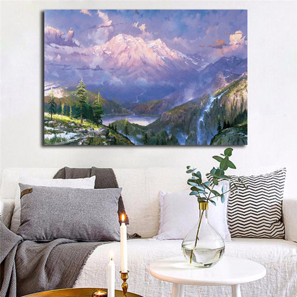 Thomas Kinkade Mountain Paradise Poster Canvas Painting Oil Framed Wall Art Print Pictures For Living Room Modern Home Decoracion Framework