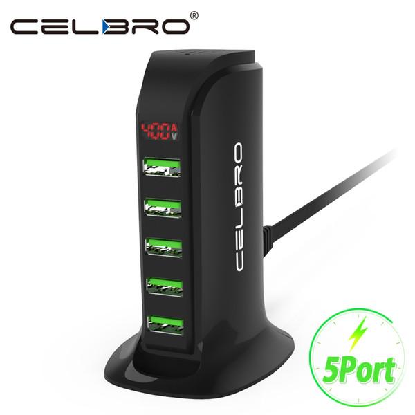 5-портовый Multi Usb зарядное устройство Hub Led Дисплей USB зарядная станция док универсальный мобильный телефон настенные настенные зарядные устройства для дома Eu Us Plug J190427