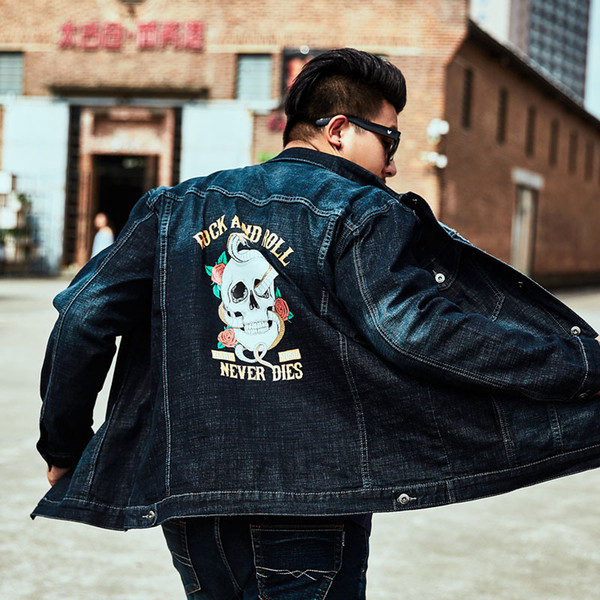 Rock Roll Skull Print Denim Jacket Men blue Enlarge Personality Brand Jackets Loose Coat Male Plus Size Chaqueta 2019 Fashion