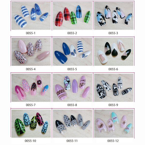 12 Designs False With Glue Tips Fashion Style 24pcs/ Pack Long French Nail Art Tips Acrylic Full Shining