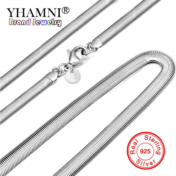 YHAMNI Original 100% 925 Sterling Silver Soft Snake Bone Necklace For Women Smooth Chain Necklace Women Gift Wedding Jewelry YN193