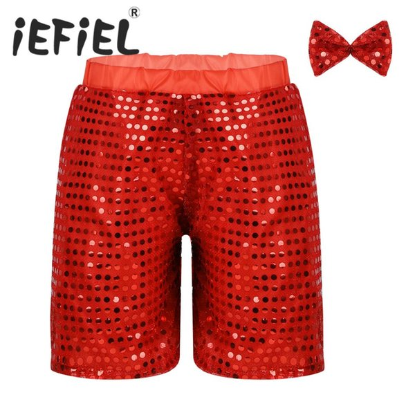 Children Unisex Kid Boys Girls Glittery Sequined Ballet Dance Shorts with Bow Set for Choir Jazz Dance Stage Performance Clothes