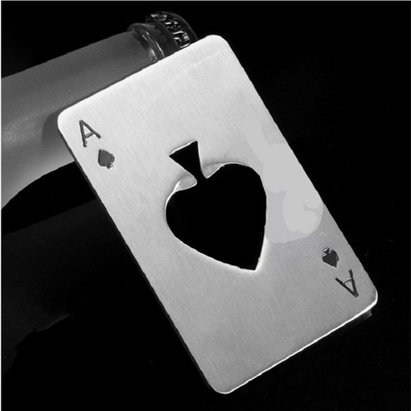 Poker Playing Card Ace of Spades Bar Tool Soda Stainless Steel Beer Bottle Cap Opener Gift Free Shipping