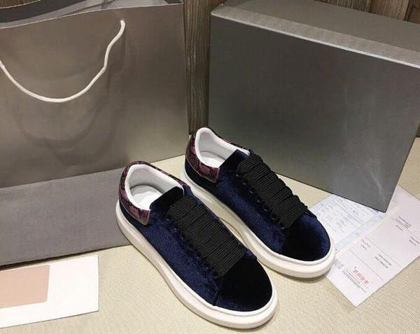 Terciopelo para hombre para mujer Chaussures casual zapato Plataforma hermosa Zapatillas de deporte casuales Diseñadores Zapatos Cuero Colores sólidos Vestido zapato 81
