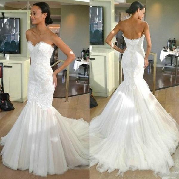 2019 Vintage Summer Lace Mermaid Wedding Dresses Sweetheart Plus Size Fishtail Bridal Gown Zipper Nigerian African vestido de novia