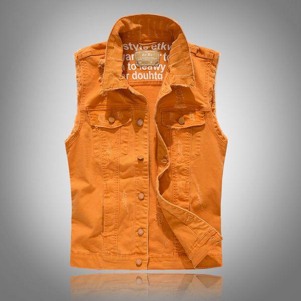 Men Washed Vintage 80s Sleeveless Vests Men's Cowboy Jackets Male Vintage Retro Casual Chubby high-grade Denim top Waistcoat
