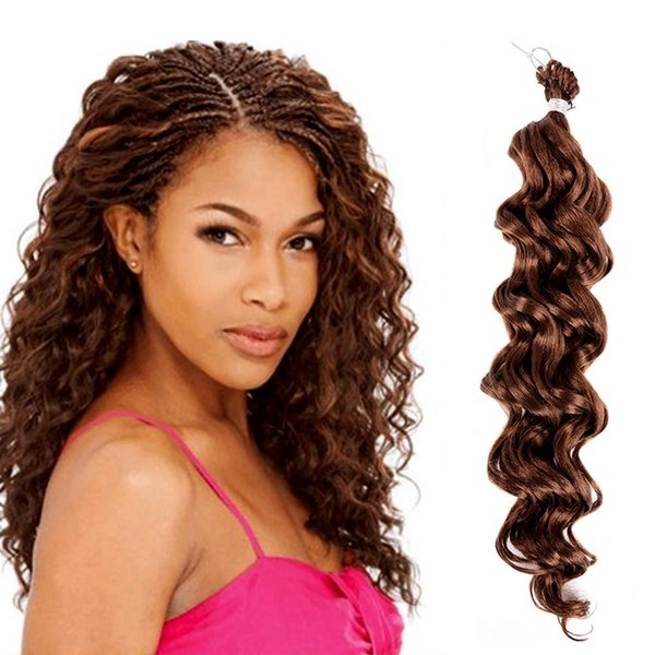 Hot! 18inch Synthetic Hair Braids Ocean Wave Hair Kinky Curly Crochet Braids Deep Twist Ombre Deep Wave Braiding Hair Extensions 1packs