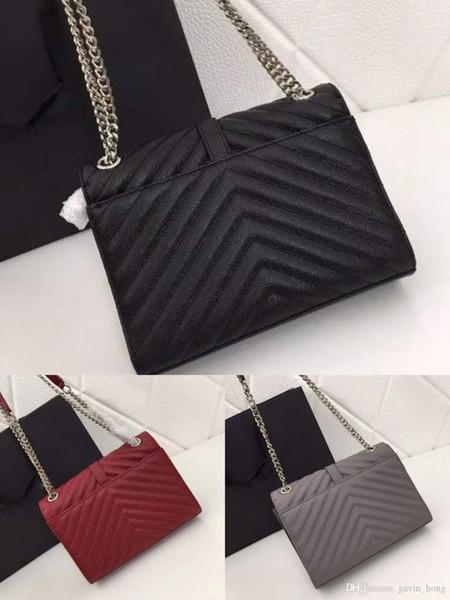 Designer Caviar Cowhide Genuine Leather Handbags high quality Luxury Handbags Silver charming Cross Body bag women Shoulder Bags 1842