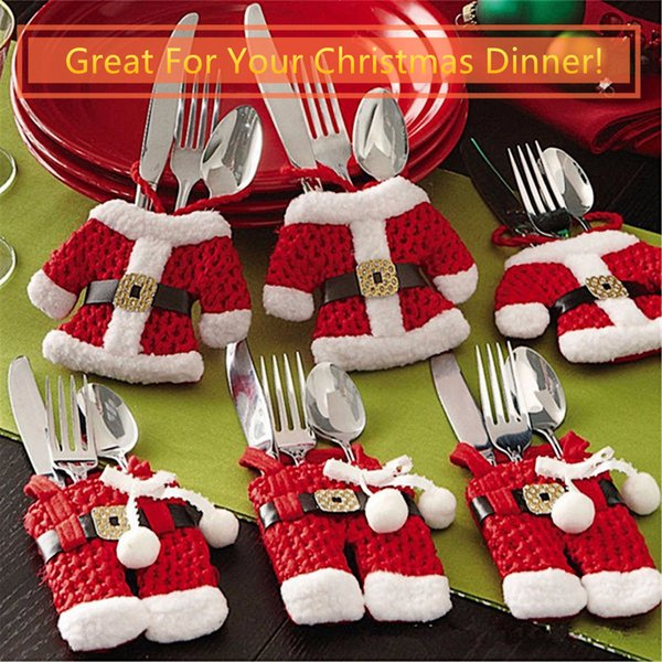 6pcs/set Christmas Decorations Xmas Holders Pockets Dinner Table Decorations Cute Cutlery Suit Knifes Folks Bag Tableware Pouch Red