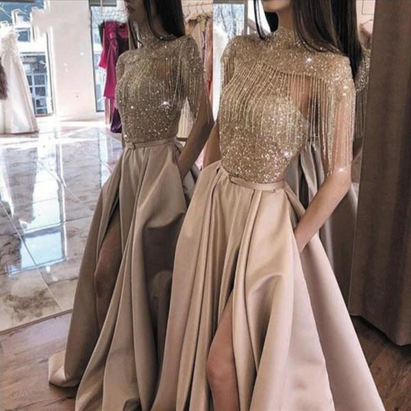 Borlas de cristal brillante Chal Vestidos de baile Cuello alto con lentejuelas Una línea Vestido de noche con bolsillos Ropa formal árabe de lujo dividida AL2823