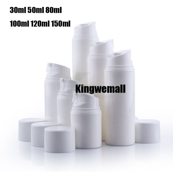 Bottiglia airless vacuumn bianca da 80 ml pp con pompa per imballaggio cosmetico spedizione gratuita 300 pz / lotto
