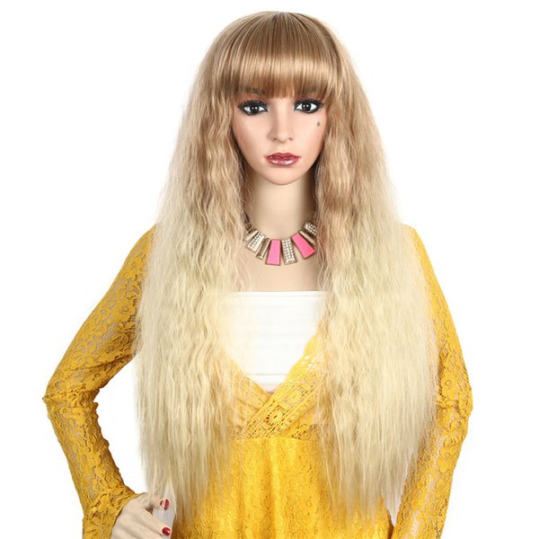 Corn Perm Blonde Synthetic Wigs for Women Kinky Straight Long Wig with Blunt Bangs Ombre Color
