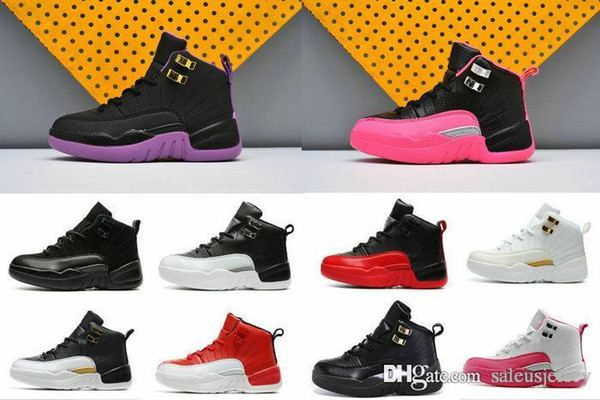 High Quality 12 XII kids Basketball Shoes 12s OVO White Gym Red Taxi Blue Suede Flu Game boy girls Sports Sneakers With Shoes Box