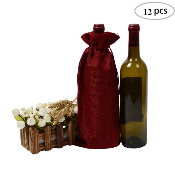 12pcs Wine Red Jute Wine Bag 5.9x13.7 inches Hessian Wine Bottle Gift Bags Bottle Cloth Jute Gift Bag for Xmas Supplies