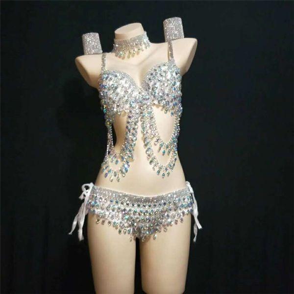 Y29 Weibliche sexy pole dance kleid bühne trägt diamanten bikini strass body Sparkly Performance Bh set DJ kostüm kleidung party kleiden