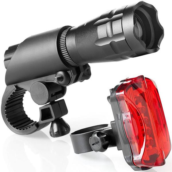 Nouveaux phares de vélo Feux d'avertissement feux arrière étanche route phares de vélo de montagne en aluminium lampe de poche ensemble LJJZ32