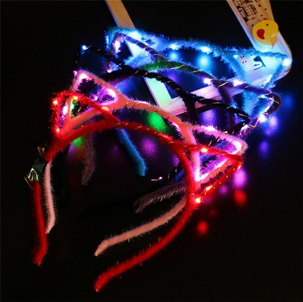 best selling Flashing LED Cat Ear Headband Light 3 Modes Glowing led lights for Party Supplies Hair Band Cheer Halloween Xmas Women Girl Gifts