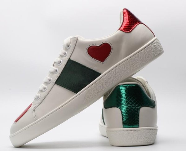 with box 2019 Fashion stripes green red Embroidered Sneakers ACE black Genuine Leather Men Women Casual Designer Shoes I01