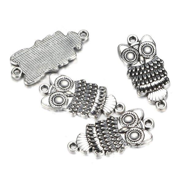 20 pz / lotto lega gufo charms grandi occhi gufo antico argento colore pendenti di fascini misura braccialetto collana gioielli che fanno diy fatti a mano