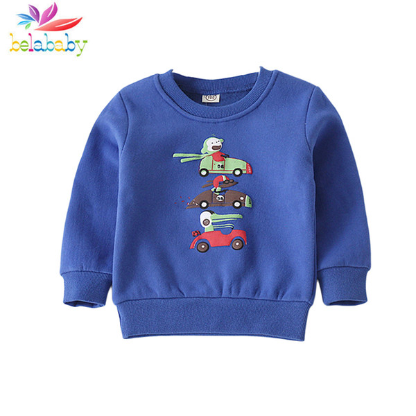2019 Spring Long Sleeve Hoodies for Boys Casual 4 Colors Children Clothing Cartoon Warm Thicken Kids Clothes Soft Cotton Hoodies