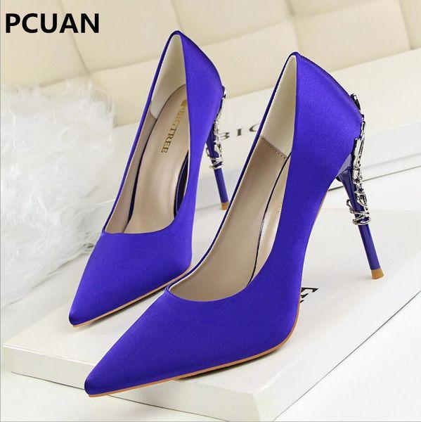 Designer Dress Shoes Women pumps Sexy Pointed toe Luxury Metal high heels woman Spring Summer Women party wedding High heels Zapatos