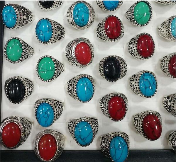 Türkis Ring Mens Womens Fashion Schmuck Antik Silber Vintage Naturstein Ring Party Geschenke