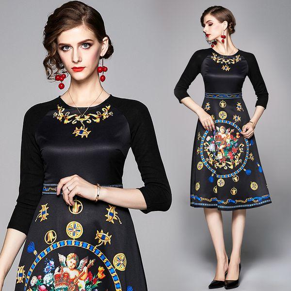 Womens Dress Ladies Party Dress Fashion Evening Crew Neck Floral Print