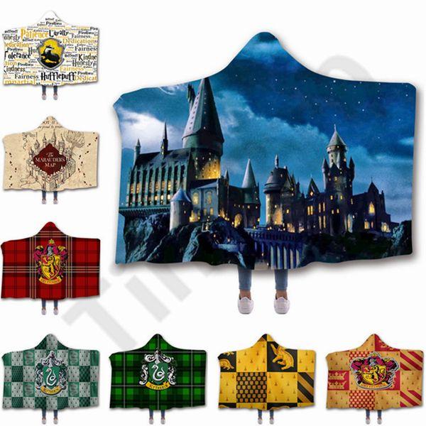 20 diseño Harry Potter manta Crest con capucha manta de invierno de doble capa mantas de lana para niños adultos manta 50 unids T1I1143