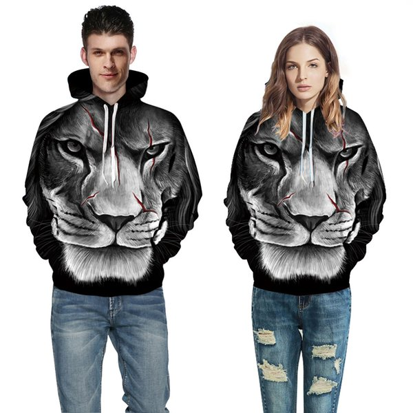 2018 European and American Couple Wear Sweater Tiger 3D Digital Printing Hat Baseball Suit Autumn Winter Wear A0371