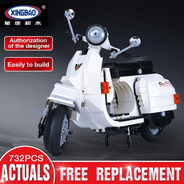 XingBao Building Blocks Model Classic Series Vespa White Motorcycle Toy 732PCS