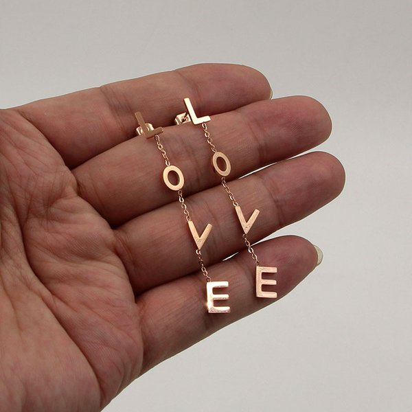 Nouvelles boucles d'oreilles LOVE en or rose de la mode coréenne LOK