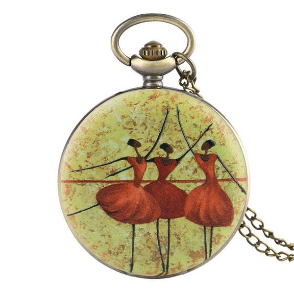 Regarder la chaîne de danse de modèle de ballet montre de poche pour la restauration de femme de la littérature et de l'art cadeau exquis pour la poche