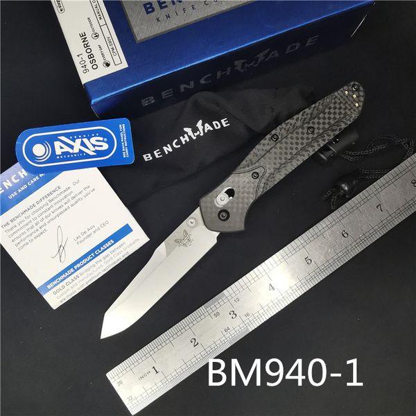 Cuchillo plegable BM940 BM 940-1 Osborne Cuchilla S90V, mango de fibra de carbono Cuchillo para exteriores BM943 BM781 BM485 BM42 BM62 C81 cuchillo plegable