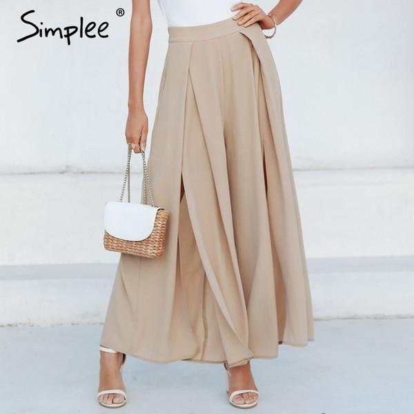 Simplee Élégant Femmes Pantalons D'été Large Jambe Élastique Taille Haute Split Pantalon Casual Streetwear Mode Femme Palazzo Pantalon Y19051701