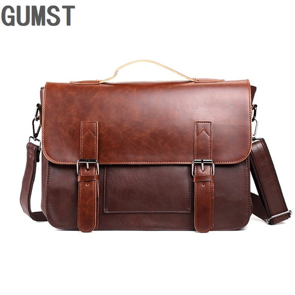 best selling GUMST Leather Bag for Men Shoulder Handbag Fashion Crossbody Bags Messenger Bag New Briefcase For Male Tote Handbags